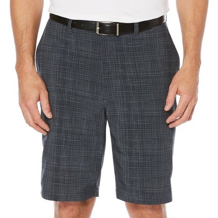 PGA TOUR Mens Asphalt Plaid Tech Shorts