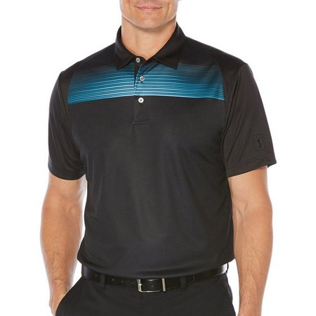 PGA TOUR Mens Caviar Faded Chest Stripe Polo