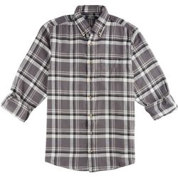 Boca Classics Mens Smoke Pearl Plaid Flannel Shirt