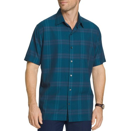 New! Van Heusen Mens Plaid Weave Camp Shirt