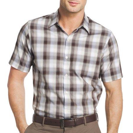 Van Heusen Mens Textured Plaid Shirt