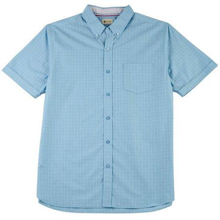 Haggar Mens Blue Check Short Sleeve Shirt