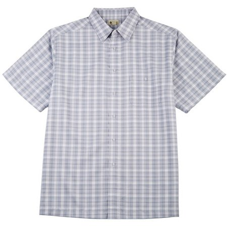 New! Haggar Mens Light Blue Plaid Short Sleeve
