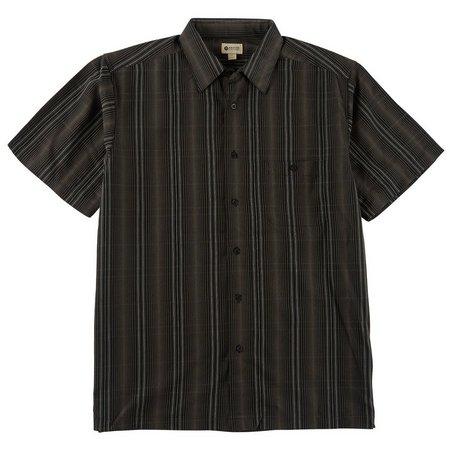 Haggar Mens Canteen Stripe Long Sleeve Shirt