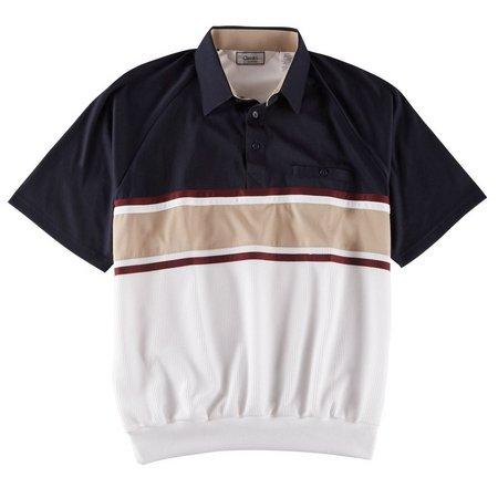 Palmland Mens Navy Horizontal Banded Polo Shirts