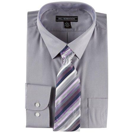 Bill Robinson Mens Mulberry Shadow Shirt & Tie