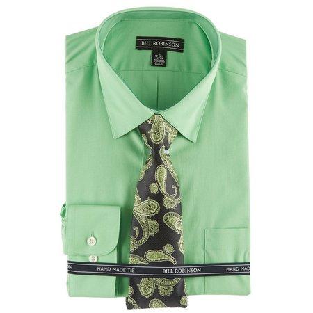 Bill Robinson Mens Green Paisley Shirt & Tie