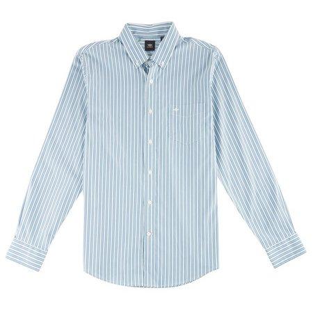 Dockers Mens Long Sleeve Vertical Stripe Shirt