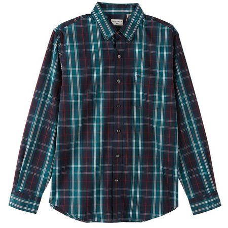 Dockers Mens Long Sleeve Multi Plaid Pocket Shirt