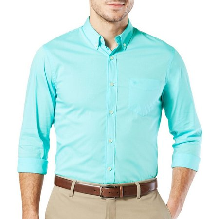 Dockers Mens Long Sleeve Stretch Solid Shirt