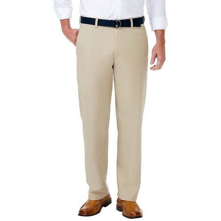 Haggar Mens Solid Stretch Poplin Belted Pants