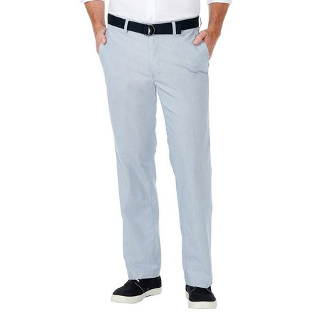Haggar Mens Stretch Poplin Belted Pants