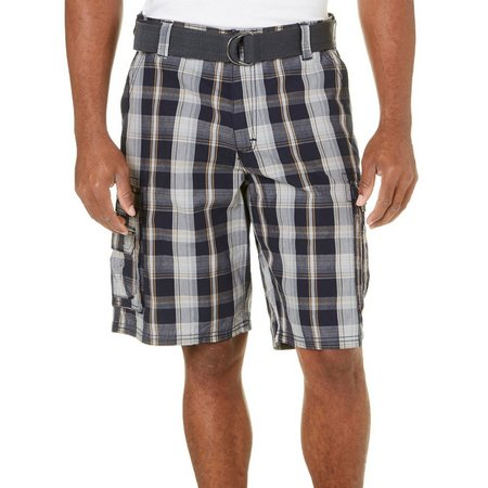 Lee Mens Wyoming Blue Plaid Cargo Shorts
