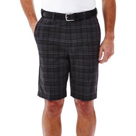 Haggar Mens Cool 18 Madras Plaid Flat Front