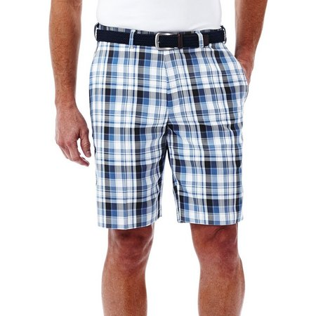 Haggar Mens Cool 18 Expandable Plaid Shorts