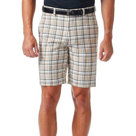 Haggar Mens Cool 18 Stone Plaid Shorts