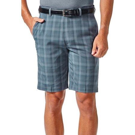 Haggar Mens Cool 18 Cadet Plaid Shorts