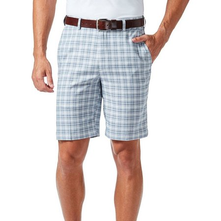 Haggar Mens Cool 18 Pro Mini Plaid Shorts
