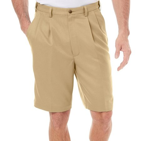 Haggar Cool 18 Performance Wear Pleated Shorts