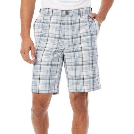 Haggar Mens Blue Plaid Cool 18 Shorts