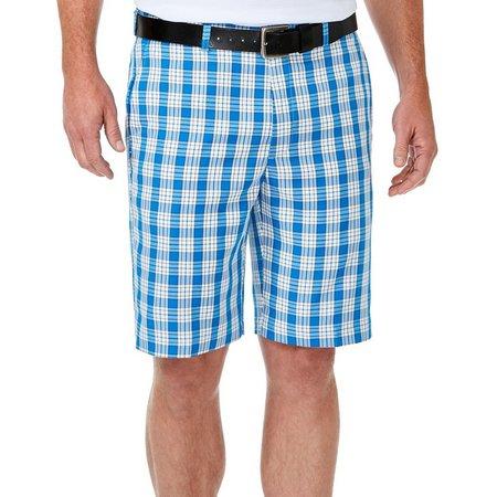 Haggar Mens Cool 18 Blue Plaid Shorts
