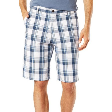 Dockers Mens The Perfect Blue Plaid Shorts