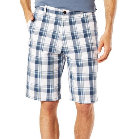 Dockers Mens Flat Front Navy Plaid Shorts