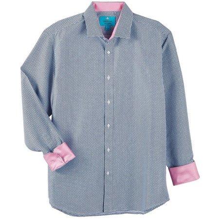 Christian Aujard Mens Check Pink Dot Print Shirt