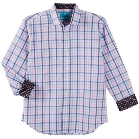 Christian Aujard Mens Blue & Pink Plaid Shirt