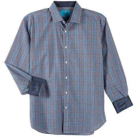 New! Christian Aujard Mens Blue Mixed Plaid Shirt
