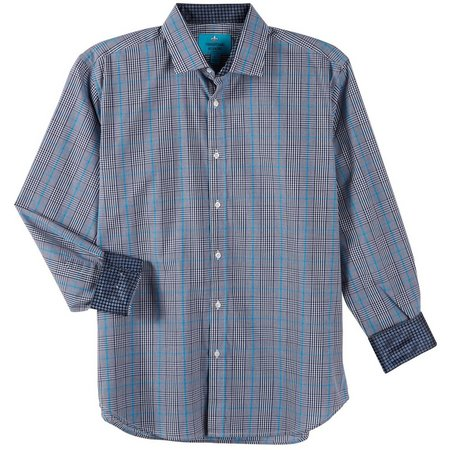 Christian Aujard Mens Blue Mixed Plaid Shirt