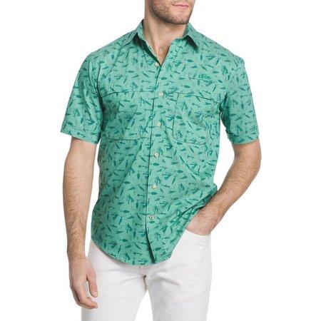 IZOD Mens Surfcaster Fishing Short Sleeve Shirt