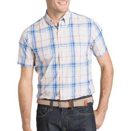IZOD Mens Advantage Cool FX Plaid Short Sleeve