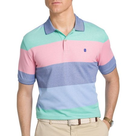 IZOD Mens Simply Green Colorblock Polo Shirt