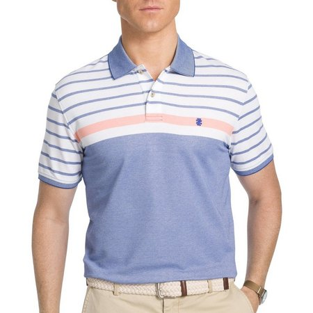 IZOD Mens Advantage Stripe Colorblock Polo Shirt