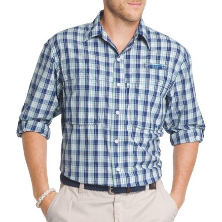 IZOD Mens Light Blue Saltwater Fishing Shirt