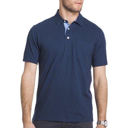 IZOD Mens Woven Slubbed Pocket Polo Shirt