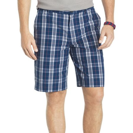 New! IZOD Mens Portsmith Estate Blue Plaid Shorts