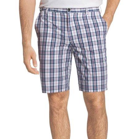 New! IZOD Mens Portsmith Blue Plaid Shorts