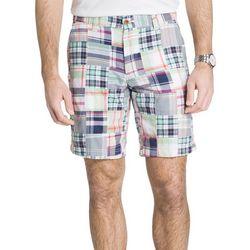 IZOD Mens White Madras Patchwork Shorts
