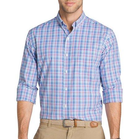IZOD Mens Long Sleeve Blue Saltwater Breeze Shirt