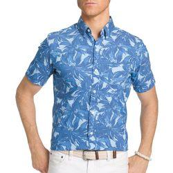 IZOD Mens Short Sleeve Blue Palm Shirt