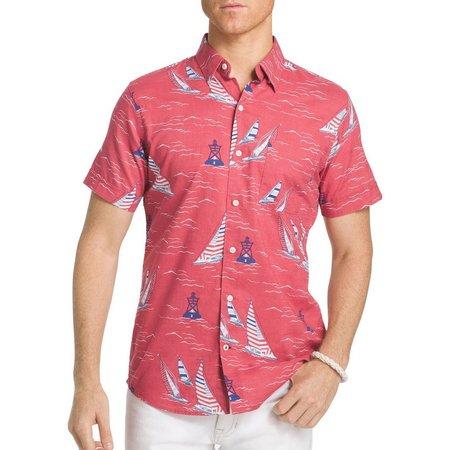 IZOD Mens Sailboat Red Chambray Short Sleeve Shirt