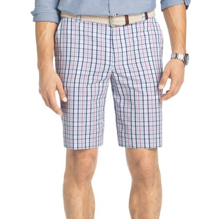 IZOD Mens Salmon Portsmith Plaid Flat Front Shorts