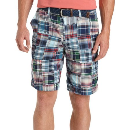 IZOD Mens Blue Madras Patchwork Plaid Shorts