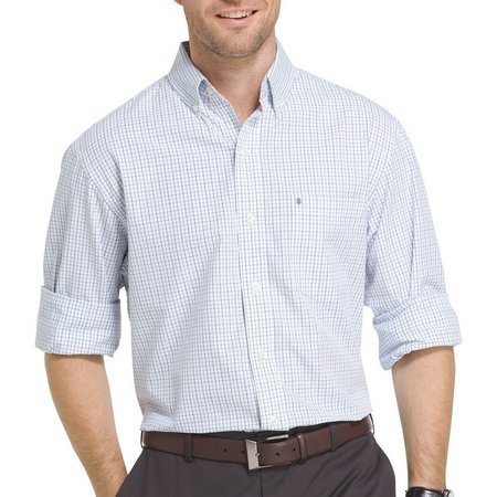 IZOD Mens Long Sleeve Tattersall Checkered Shirt