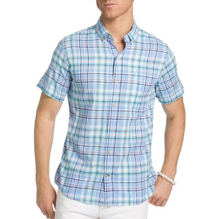 IZOD Mens Dockside Blue Plaid Short Sleeve Shirt
