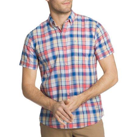 IZOD Mens Red & Blue Plaid Chambray Shirt