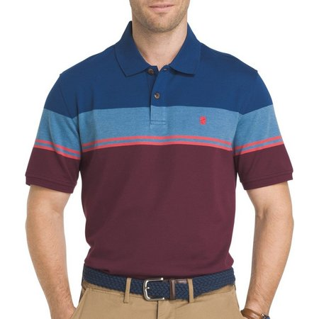 IZOD Mens Engineered Colorblock Fig Polo Shirt