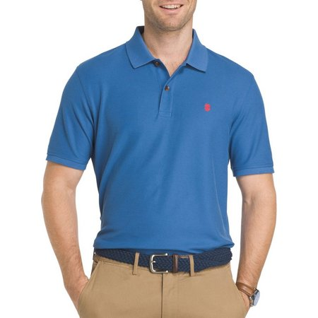 IZOD Mens Advantage Solid Contrast Polo Shirt